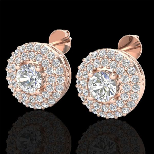 1.20 ctw Micro Pave VS/SI Diamond Earrings DOUBLE 14k Rose Gold - REF-123X6A