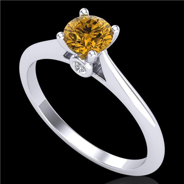 0.56 ctw Intense Fancy Yellow Diamond Art Deco Ring 18k White Gold - REF-72W3H
