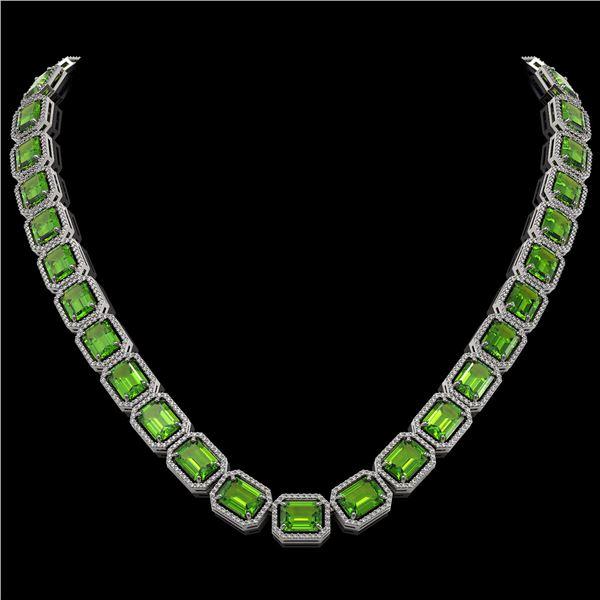 73.41 ctw Peridot & Diamond Micro Pave Halo Necklace 10k White Gold - REF-888A2N
