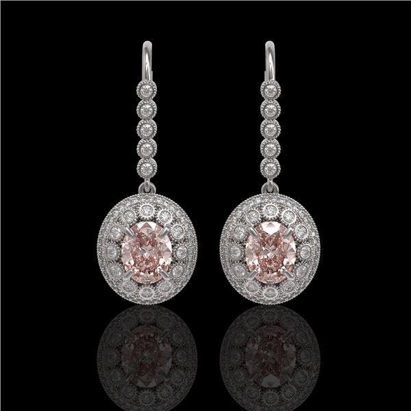 7.85 ctw Morganite & Diamond Victorian Earrings 14K White Gold - REF-317Y5X