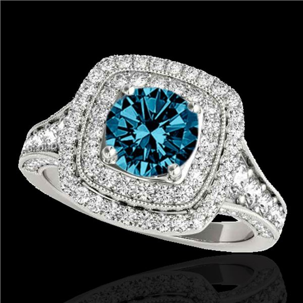 2 ctw SI Certified Fancy Blue Diamond Solitaire Halo Ring 10k White Gold - REF-170H5R