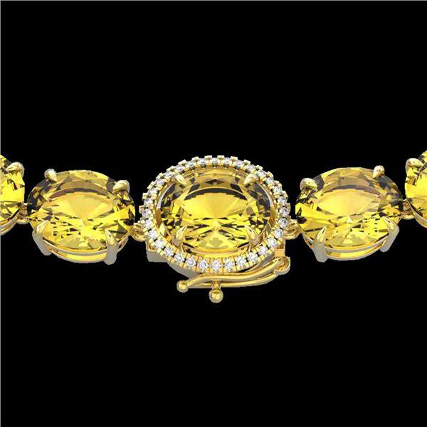 175 ctw Citrine & VS/SI Diamond Halo Micro Necklace 14k Yellow Gold - REF-483G6W