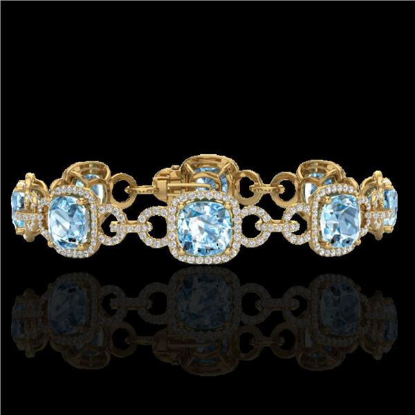 30 ctw TOPAZ & Micro VS/SI Diamond Certified Bracelet 14k Yellow Gold - REF-368A9N