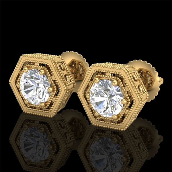 1.07 ctw VS/SI Diamond Solitaire Art Deco Stud Earrings 18k Yellow Gold - REF-218A2N