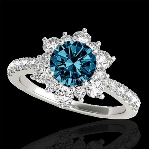 2 ctw SI Certified Blue Diamond Solitaire Halo Ring 10k White Gold - REF-163G6W