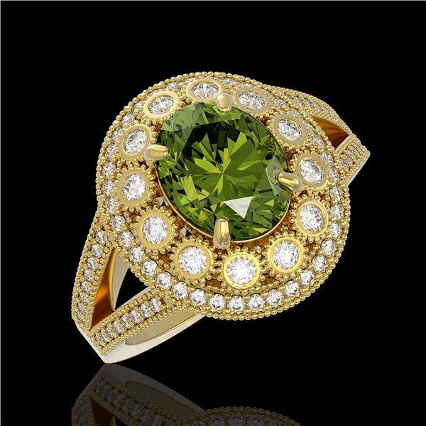 4.25 ctw Certified Tourmaline & Diamond Victorian Ring 14K Yellow Gold - REF-132H8R