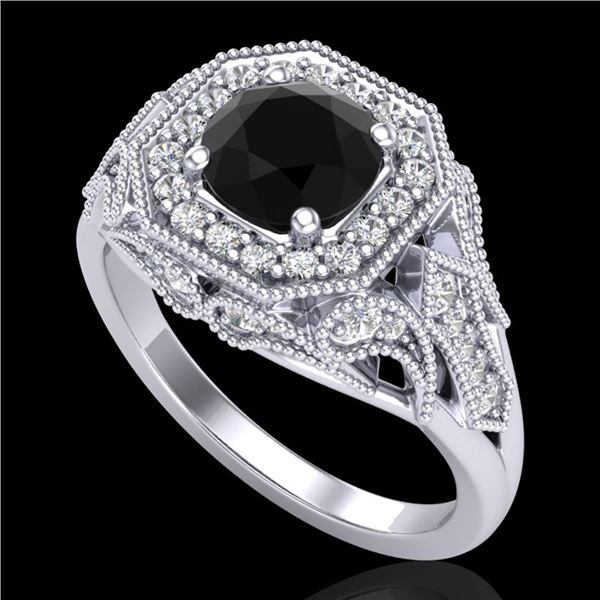 1.75 ctw Fancy Black Diamond Engagment Art Deco Ring 18k White Gold - REF-136A4N