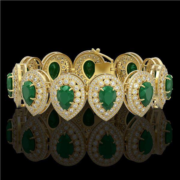 56.04 ctw Emerald & Diamond Victorian Bracelet 14K Yellow Gold - REF-1745N5F