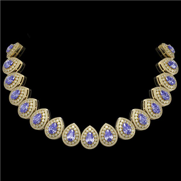 108.42 ctw Tanzanite & Diamond Victorian Necklace 14K Yellow Gold - REF-5818Y2X