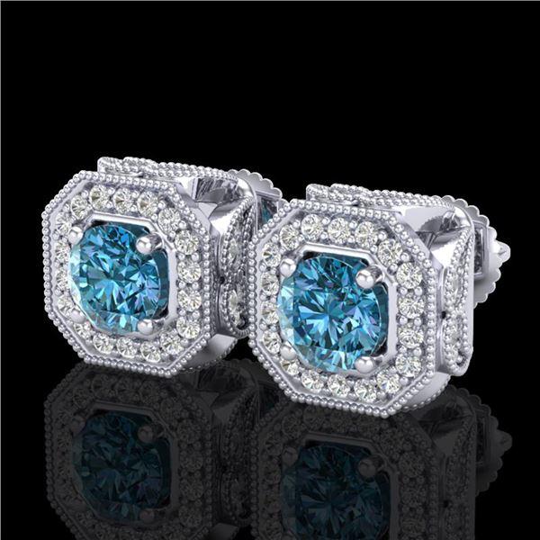 2.75 ctw Fancy Intense Blue Diamond Art Deco Earrings 18k White Gold - REF-290K9Y