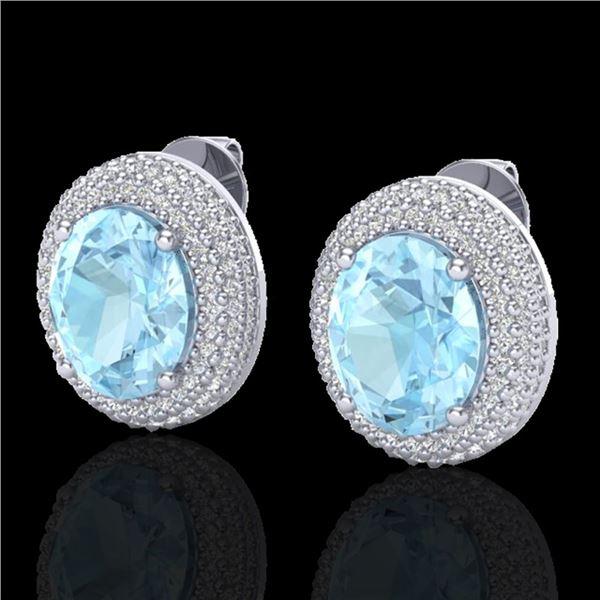 8 ctw Aquamarine & Micro Pave VS/SI Diamond Earrings 18k White Gold - REF-204W9H