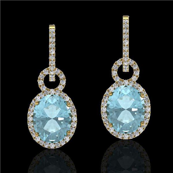 6 ctw Aquamarine & Micro Pave VS/SI Diamond Earrings 14k Yellow Gold - REF-125M5G