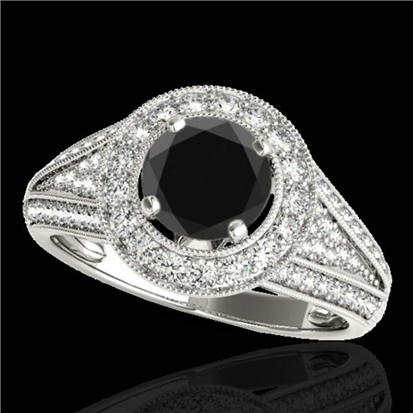 1.7 ctw Certified VS Black Diamond Solitaire Halo Ring 10k White Gold - REF-81X8A