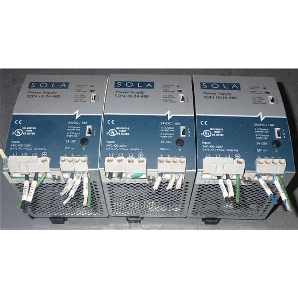 Lot of SOLA #SDN 10-24-480 Power Supplies