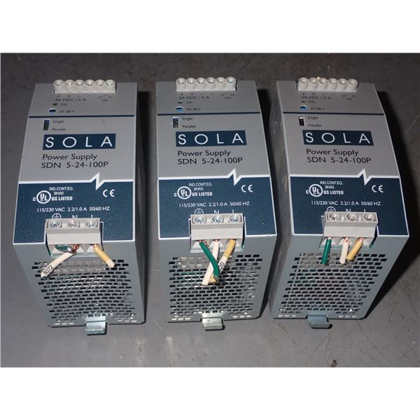 Lot of SOLA #SDN 5-24-100P Power Supplies