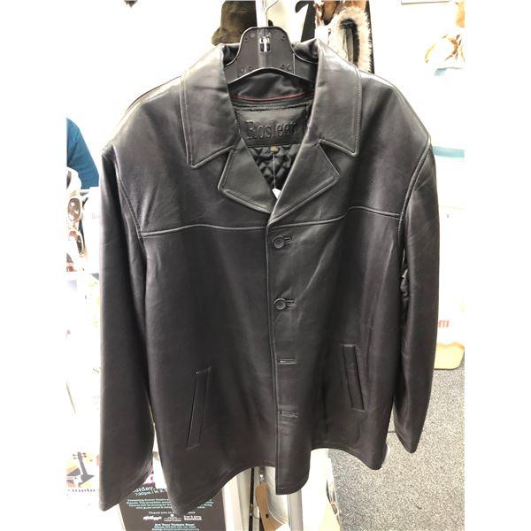 Men's Black Lamb 3/4 front car coat w/zipout liner