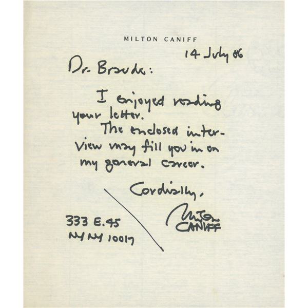 Milton Caniff hand written signed note