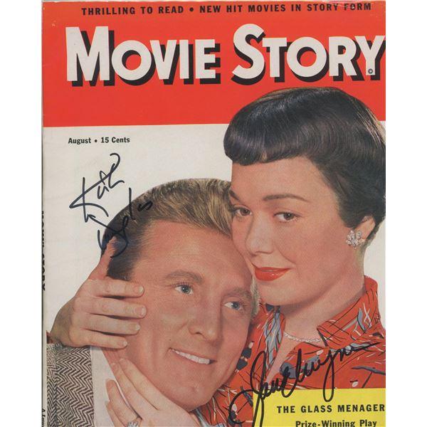 "Kirk Douglas and Jane Wyman signed ""Movie Story Magazine"""