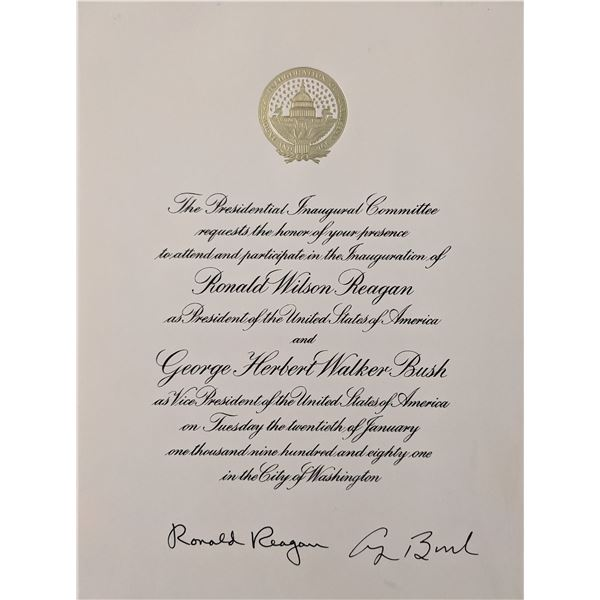 Ronald Reagan and George H.W. Bush Signed Presidential Inauguration Invitation