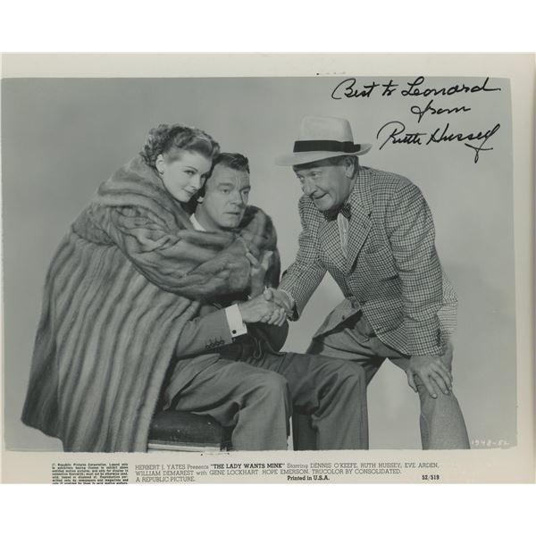 """Ruth Hussey signed """"The Lady Wants Mink"""" movie photo"""