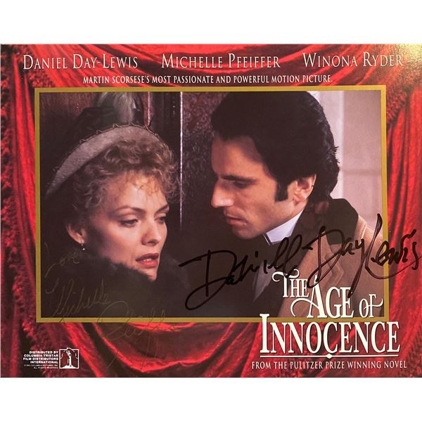 The Age of Innocence Daniel Day-Lewis and Michelle Pfeiffer signed mini lobby card