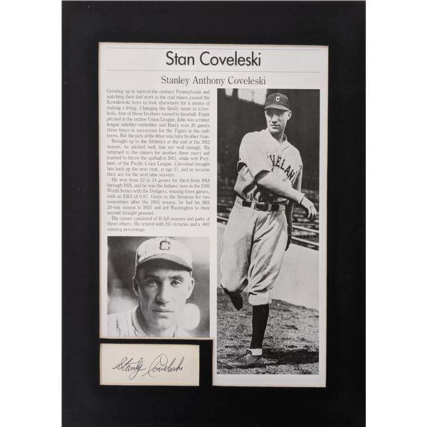 Stan Coveleski original signature and newspaper clipping