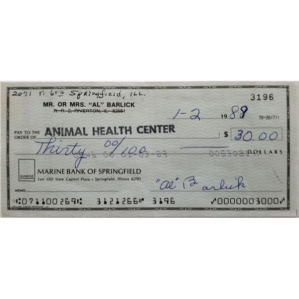 Al Barlick signed check