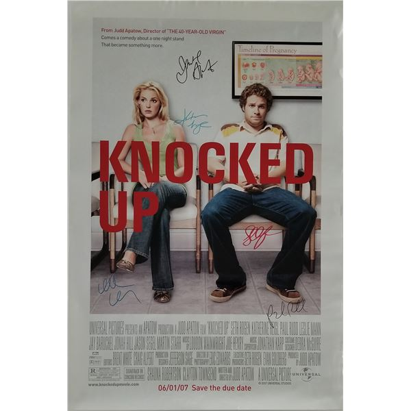 """Katherine Heigl and Paul Rudd signed """"Knocked Up"""" movie poster"""