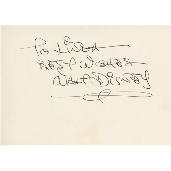 Walt Disney signed note