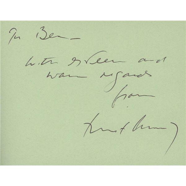 John F. Kennedy signed note