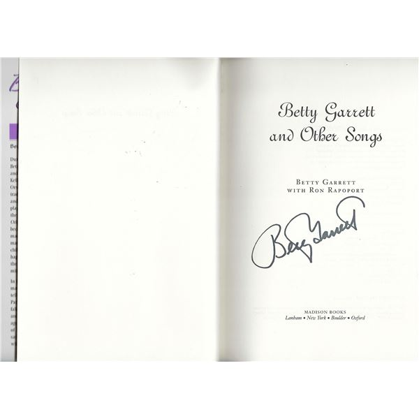 Betty Garrett and Other Songs: A Life on Stage and Screen signed book