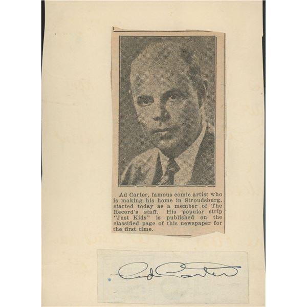 Ad Carter newspaper clip and signature