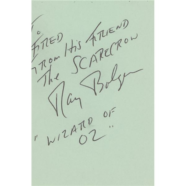 Ray Bolger The Scarecrow in the Wizard of Oz handwritten signed note