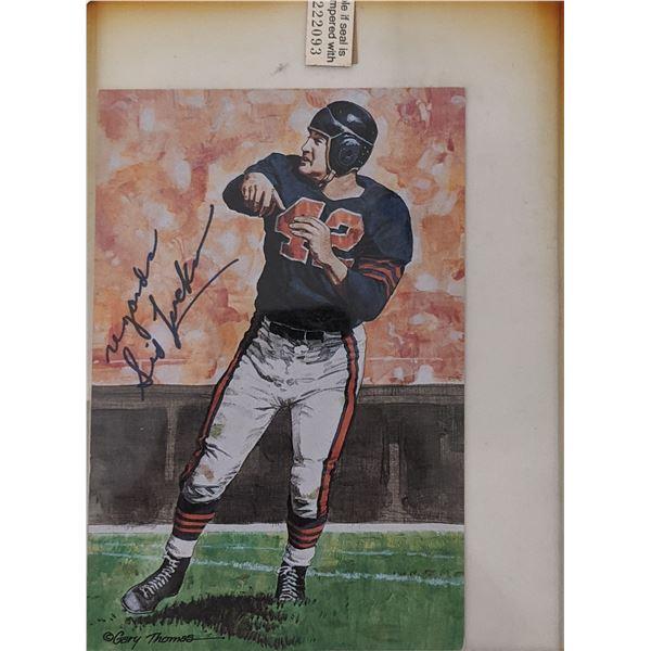 Sid Luckman Unsigned Chicago Bears 1989 Goal Line Art Card
