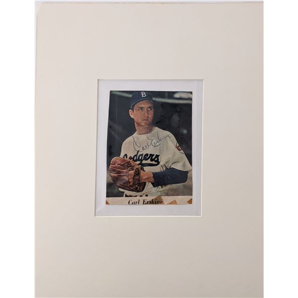 Carl Erskine signed matted photo