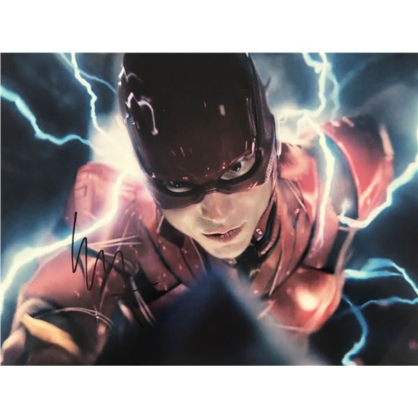 Justice League Ezra Miller signed movie photo