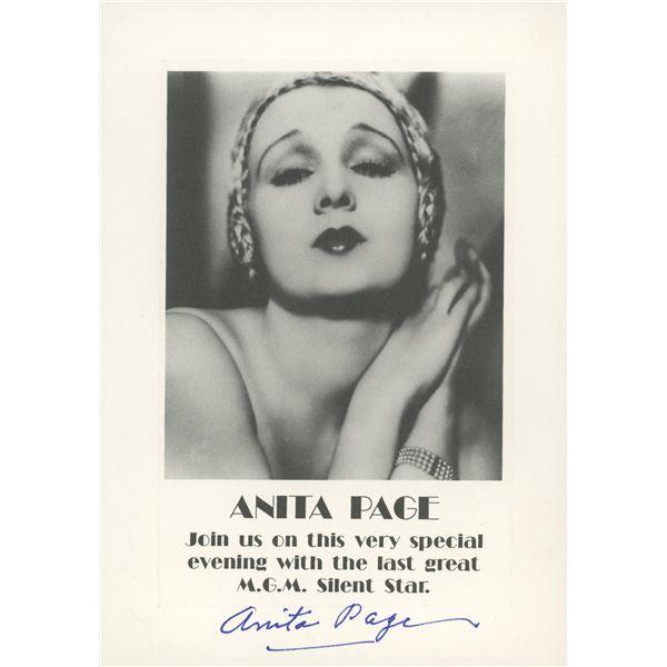 Anita Page signed invitation