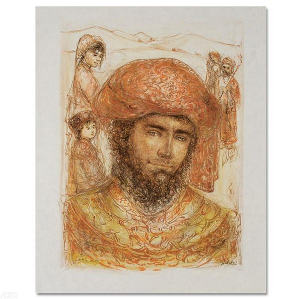 """""""Joshua at the Jordan"""" Limited Edition Lithograph by Edna Hibel (1917-2014), Numbered and Hand Signe"""