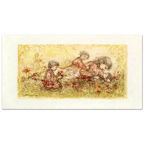 """""""Natures Caress"""" Limited Edition Lithograph by Edna Hibel (1917-2014), Numbered and Hand Signed with"""