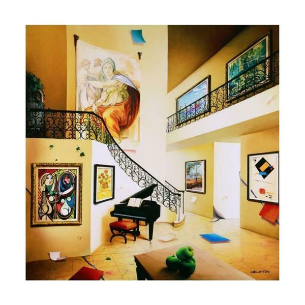 """Orlando Quevedo, """"Piano's Corner"""" Limited Edition on Canvas, Numbered and Hand Signed with Certifica"""