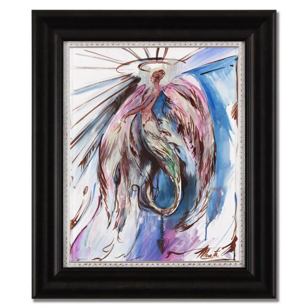 Marta Wiley, Framed Original Mixed Media Painting on Canvas, Hand Signed and Thumb Printed with Lett