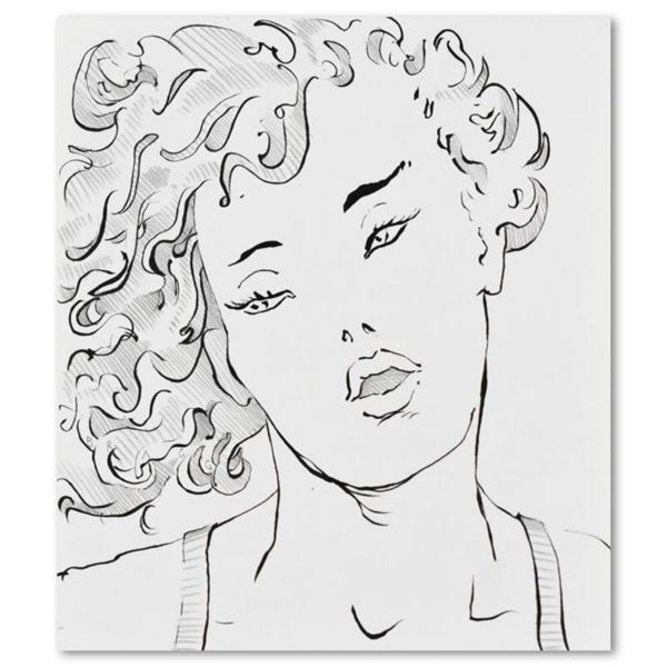 """Charles Lynn Bragg, """"Sexy Marla"""" Original Ink and Pencil Drawing, Hand Signed with Letter of Authent"""