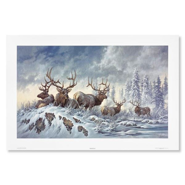 """Larry Fanning, """"Solstice Rendezvous (Elk)"""" Hand Signed Limited Edition Lithograph with letter of aut"""