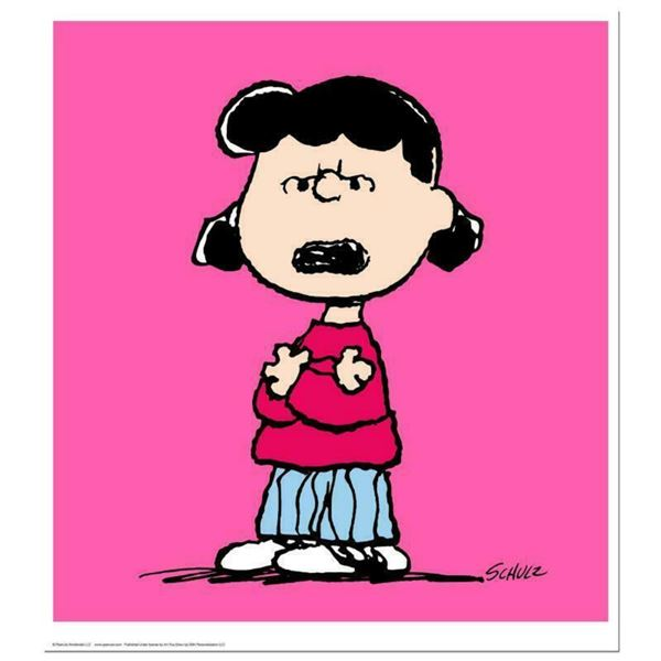 """Peanuts, """"Lucy: Pink"""" Hand Numbered Limited Edition Fine Art Print with Certificate of Authenticity."""