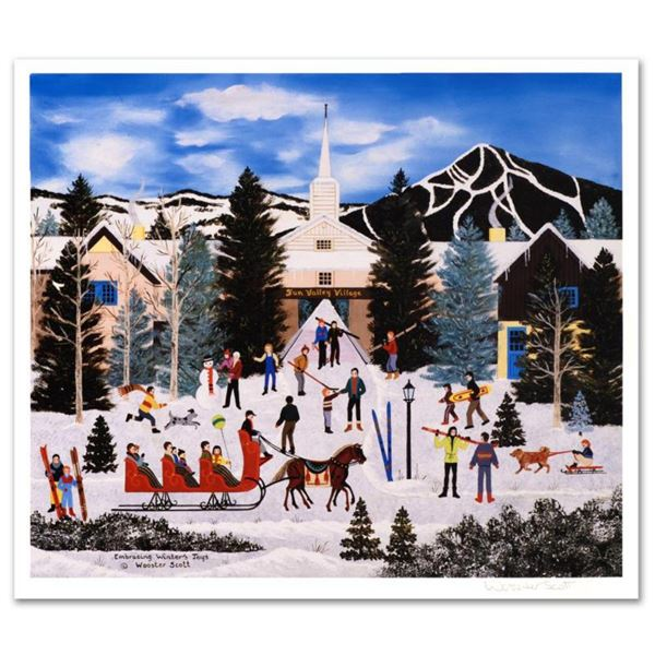 """Jane Wooster Scott, """"Embracing Winter's Joys"""" Hand Signed Limited Edition Lithograph with Letter of"""