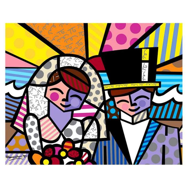 """Britto, """"Honeymoon at Sea"""" Hand Signed Limited Edition Giclee on Canvas; Authenticated."""