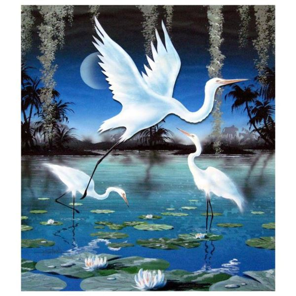 """Ken Shotwell, """"3-D Egrets"""" Hand Signed Original Panting on Board with Certificate of Authenticity."""
