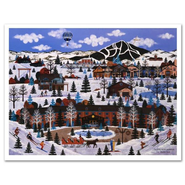 """Jane Wooster Scott, """"Sun Valley Winter Wonderland"""" Hand Signed Limited Edition Lithograph with Lette"""