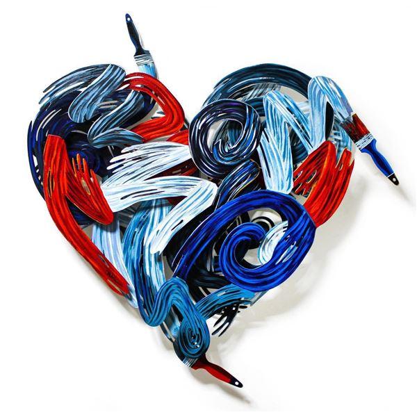 "Patricia Govezensky- Original Painting on Cutout Steel ""Colors of Love"""