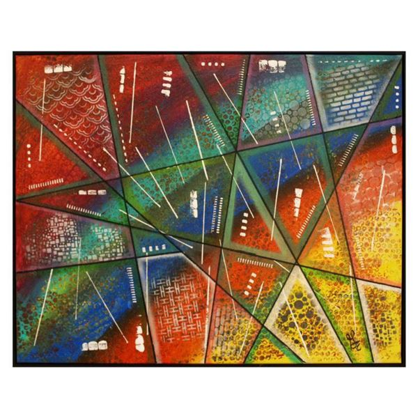 """George Marlowe, """"Jigsaw Puzzle"""" Hand Signed Original Acrylic Painting on Canvas with Letter of Authe"""